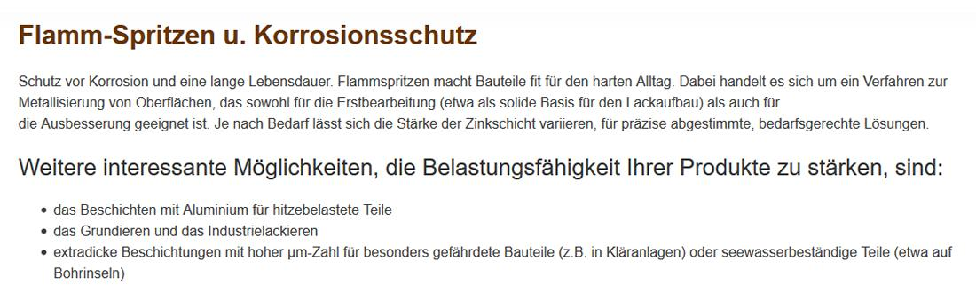 Flammspritzen Korrosionsschutz aus  Walddorfhäslach