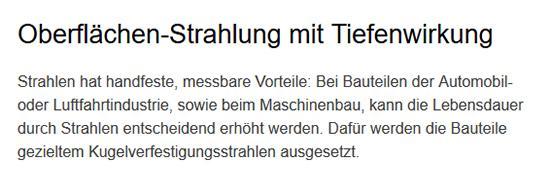 Oberflächen Strahlung, Aufrauhen für  Biberbach