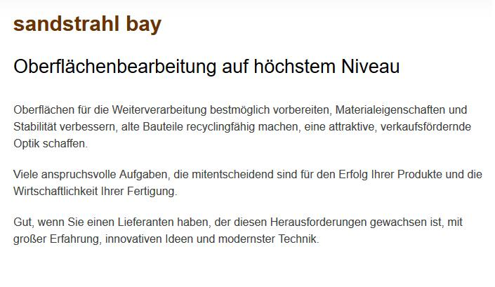 Sandstrahlen für Metzingen - sandstrahl-bay: Entlacken, Flammspritzen, Entfetten, Trockeneisstrahlen